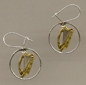 Irish Harp Coin Earrings