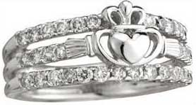 wedding ladies flat gold set diamond white rings karat ring in scroll claddagh