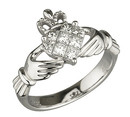 ladies 14k white diamond claddagh wedding ring